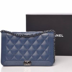 CHANEL Boy Wallet On Chain WOC Caviar  Blue